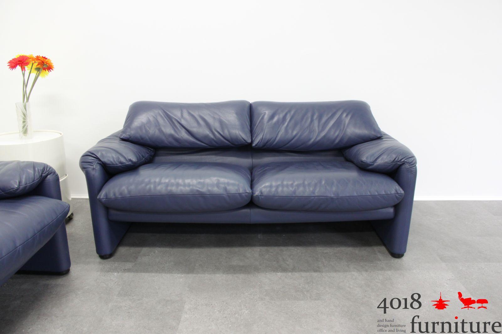 2 X Cassina Maralunga Leder Sofa 2 Sitzer Blau Lounge Ebay