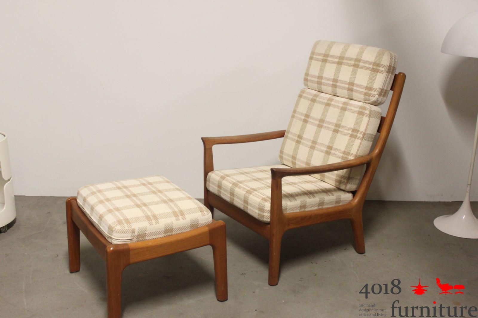 teak highback chair hochlehner sessel mit hocker danish mid century lounge chair ebay. Black Bedroom Furniture Sets. Home Design Ideas