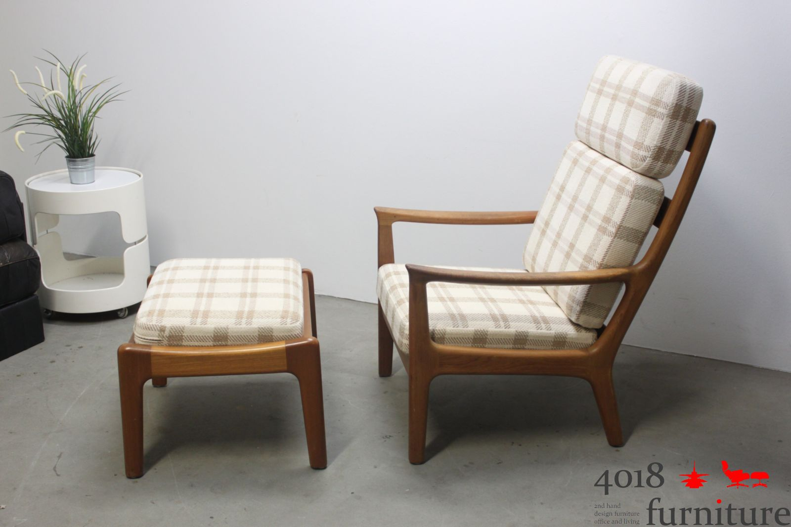 teak highback chair hochlehner sessel mit hocker danish mid century lounge chair ebay. Black Bedroom Furniture Sets. Home Design Ideas